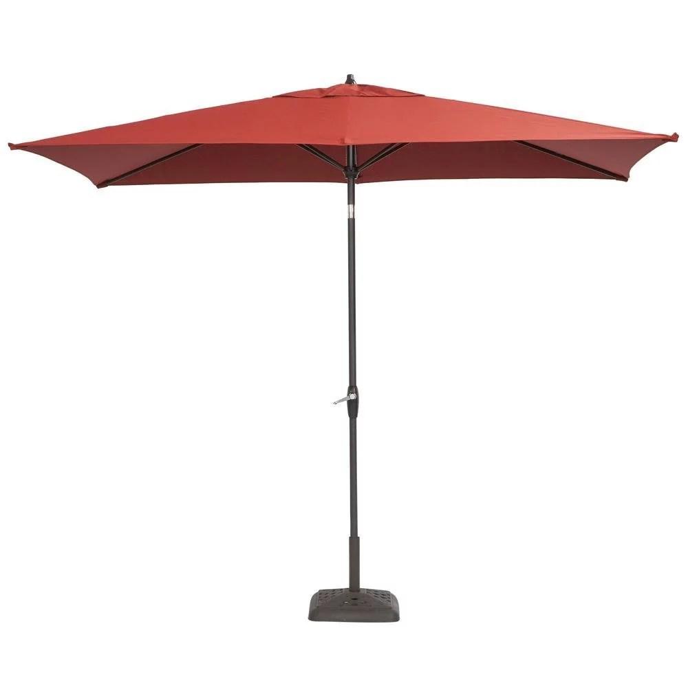 hampton bay 10 ft x 6 ft aluminum patio umbrella with push button tilt chili walmart com