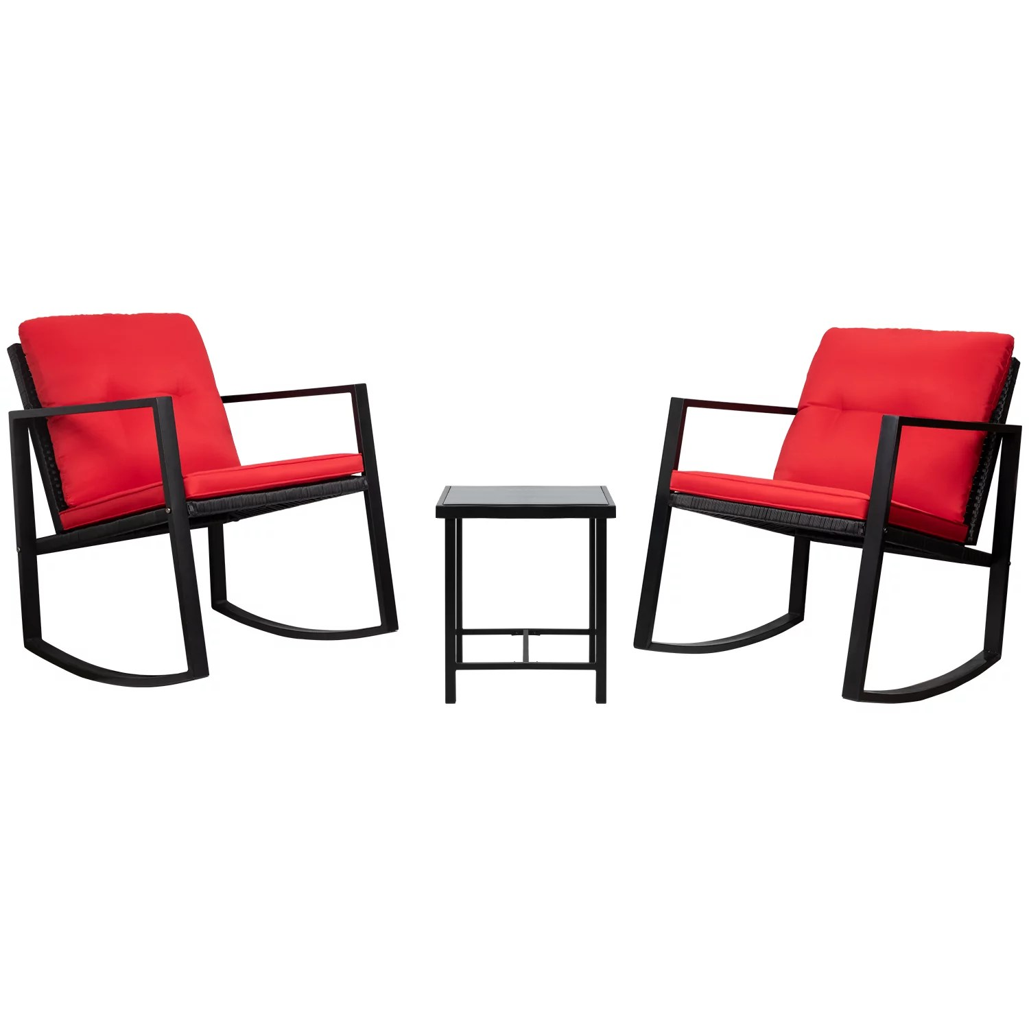 walnew 3 pieces patio furniture set rocking wicker bistro sets modern outdoor rocking chair furniture sets cushioned pe rattan chairs conversation