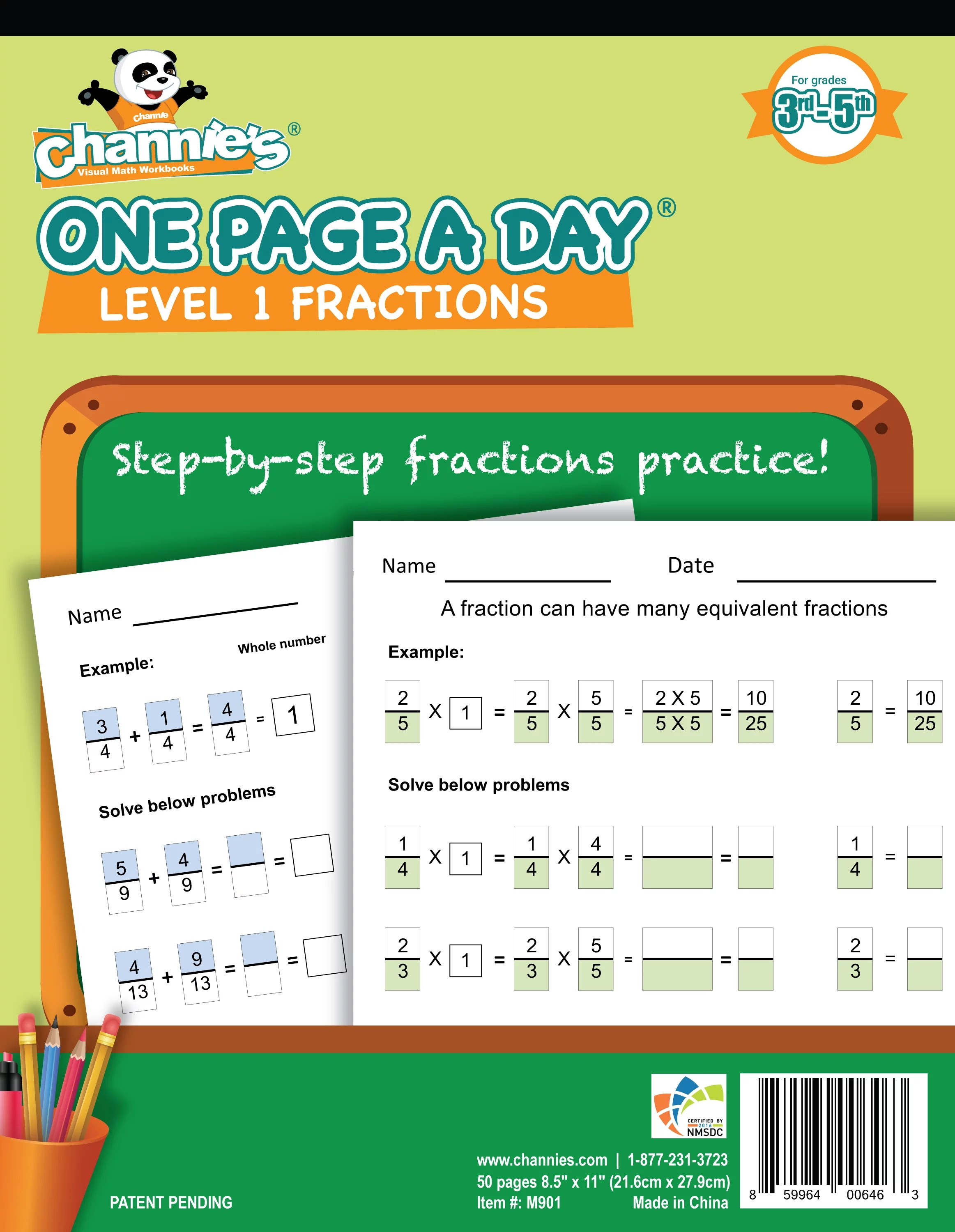 Channie S One Page A Day Workbook Beginner Fraction Math