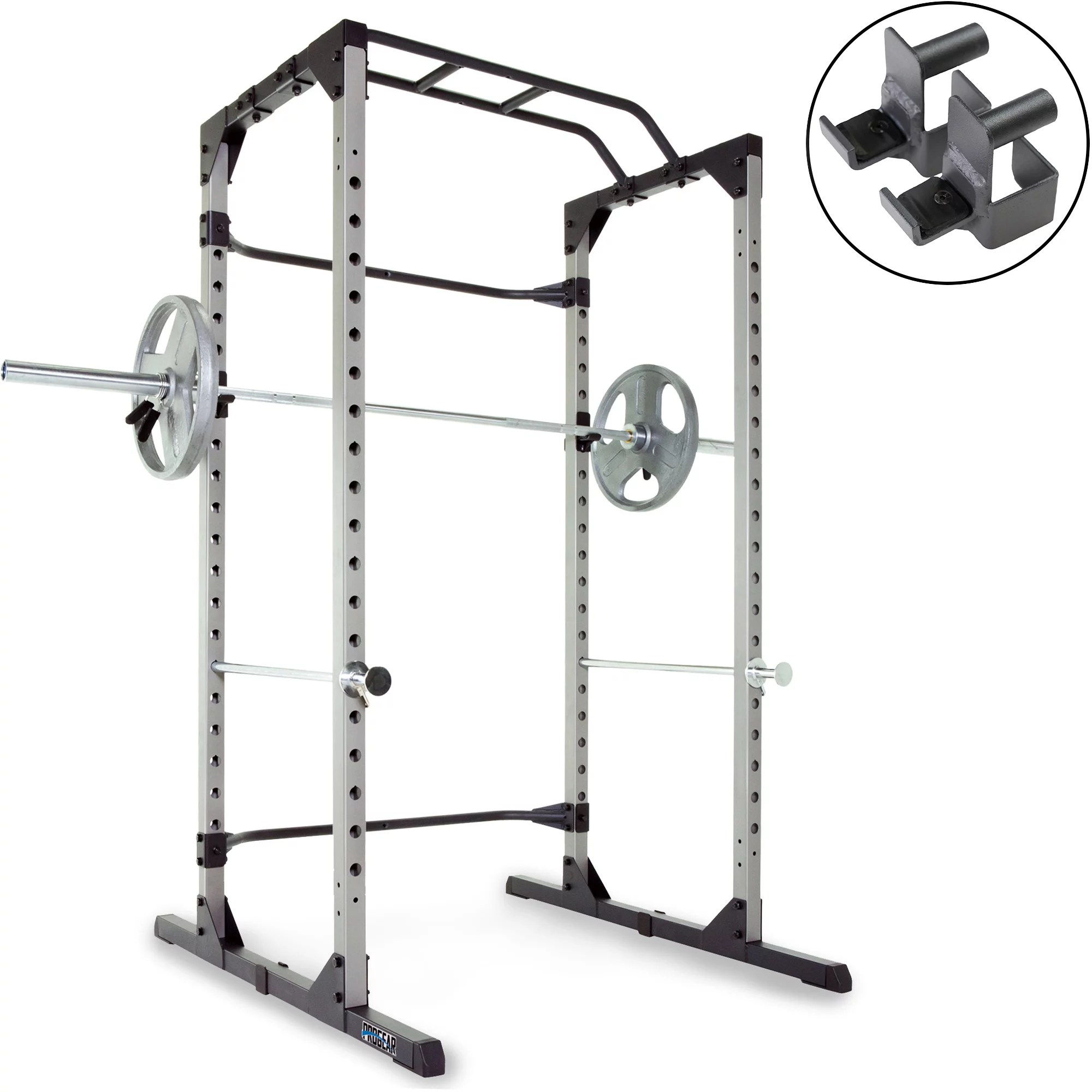 progear 1600 ultra strength 800lb weight capacity power rack cage with lock in j hooks walmart com