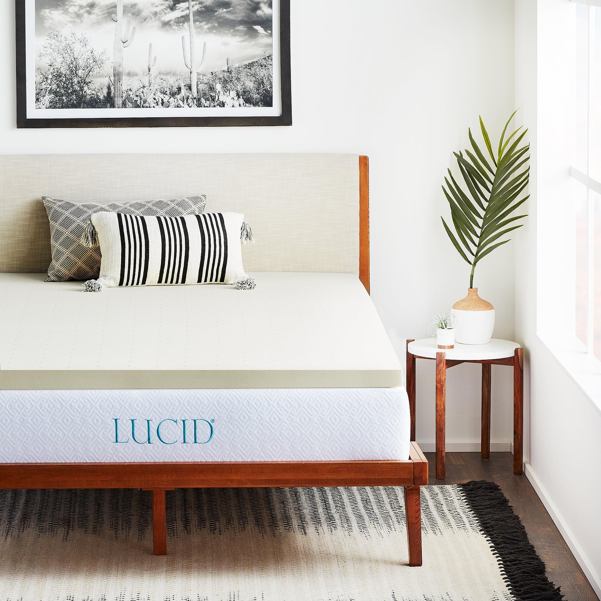 lucid 2 ventilated plush memory foam mattress topper multiple sizes