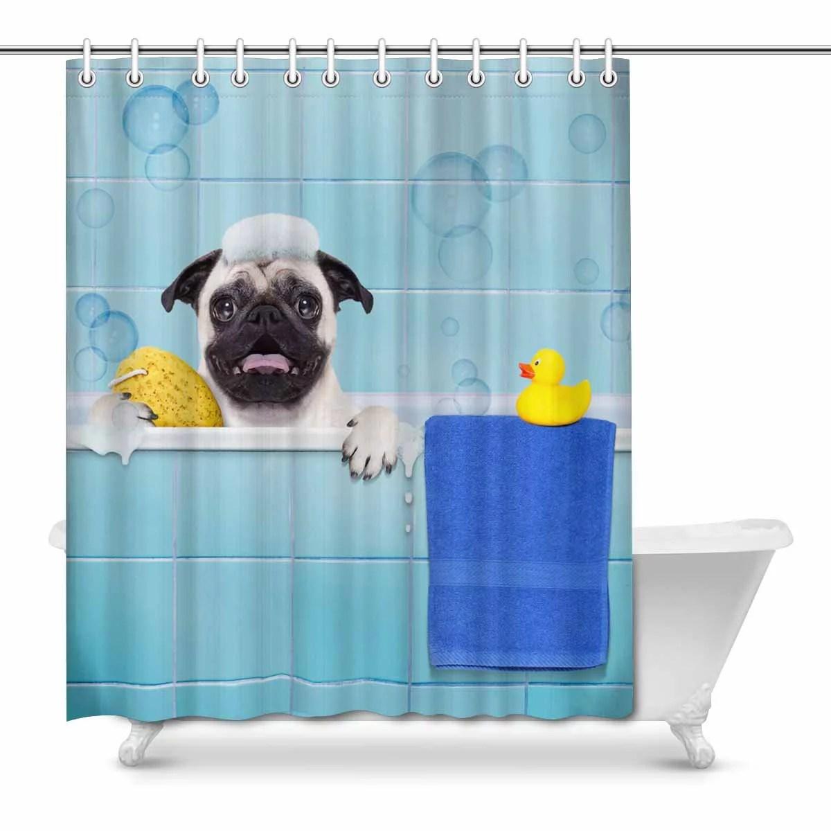 mkhert funny pug dog with yellow rubber duck in bathtub waterproof shower curtain decor fabric bathroom set 66x72 inch