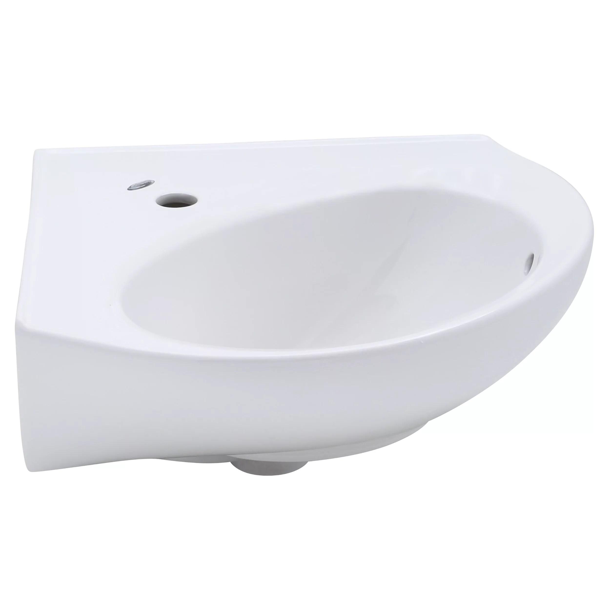 american standard cornice corner pedestal sink top with single hole in white walmart com