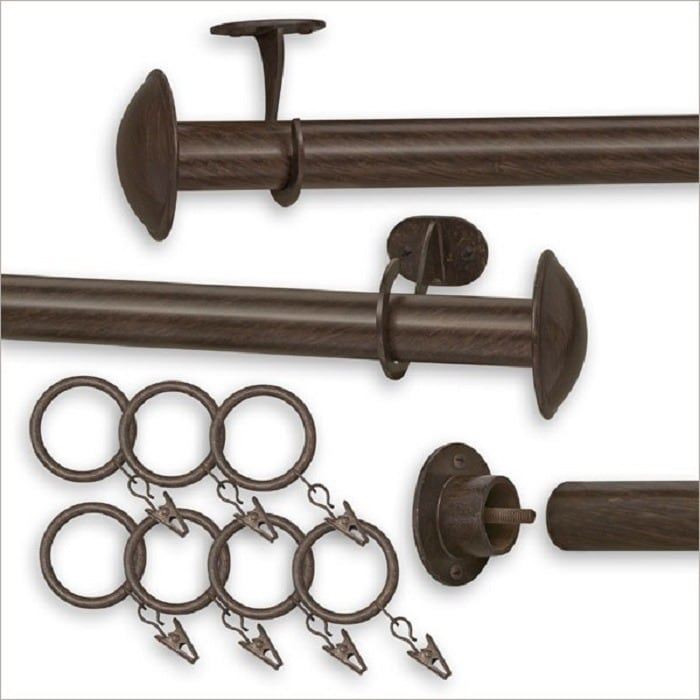 pinnacle indoor outdoor curtain rod 52 100 inches 100 brown