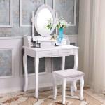 Costway Vanity Wood Makeup Dressing Table Set With Stool Mirror 4 Drawers Multiple Colors Walmart Com Walmart Com