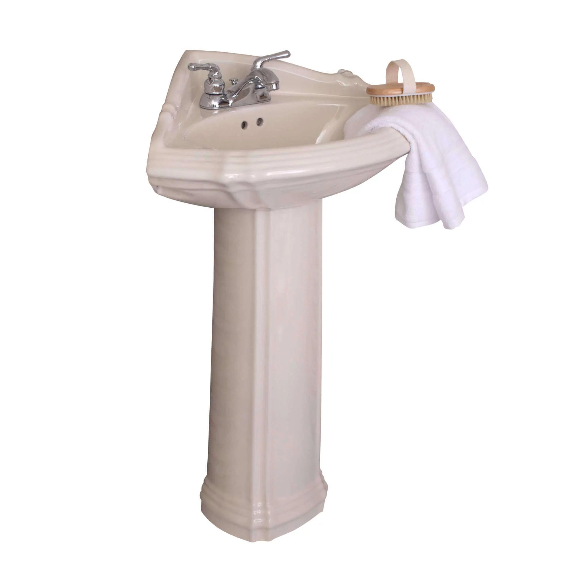 fine fixtures regent corner pedestal sink biscuit color vitreous china ceramic material 4 inch faucet spread hole walmart com