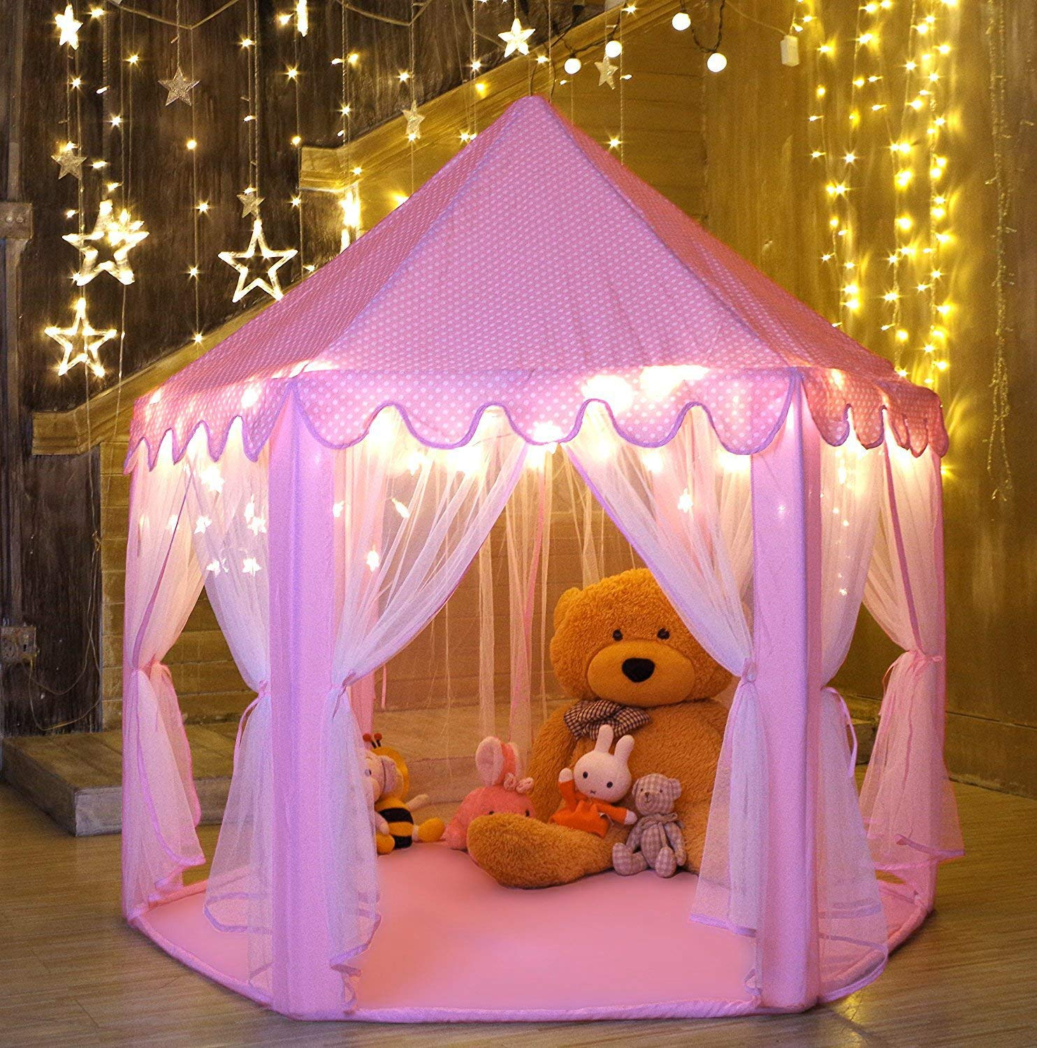 higoodz princess castle play tent kids girls play tent house portable children outdoor indoor pink princess tent girls large playhouse birthday gift