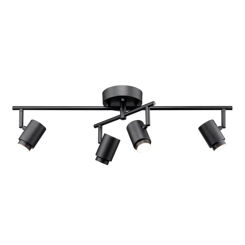 globe electric walton 4 light matte black 29w integrated led track lighting with swivel center bar 59884 walmart com