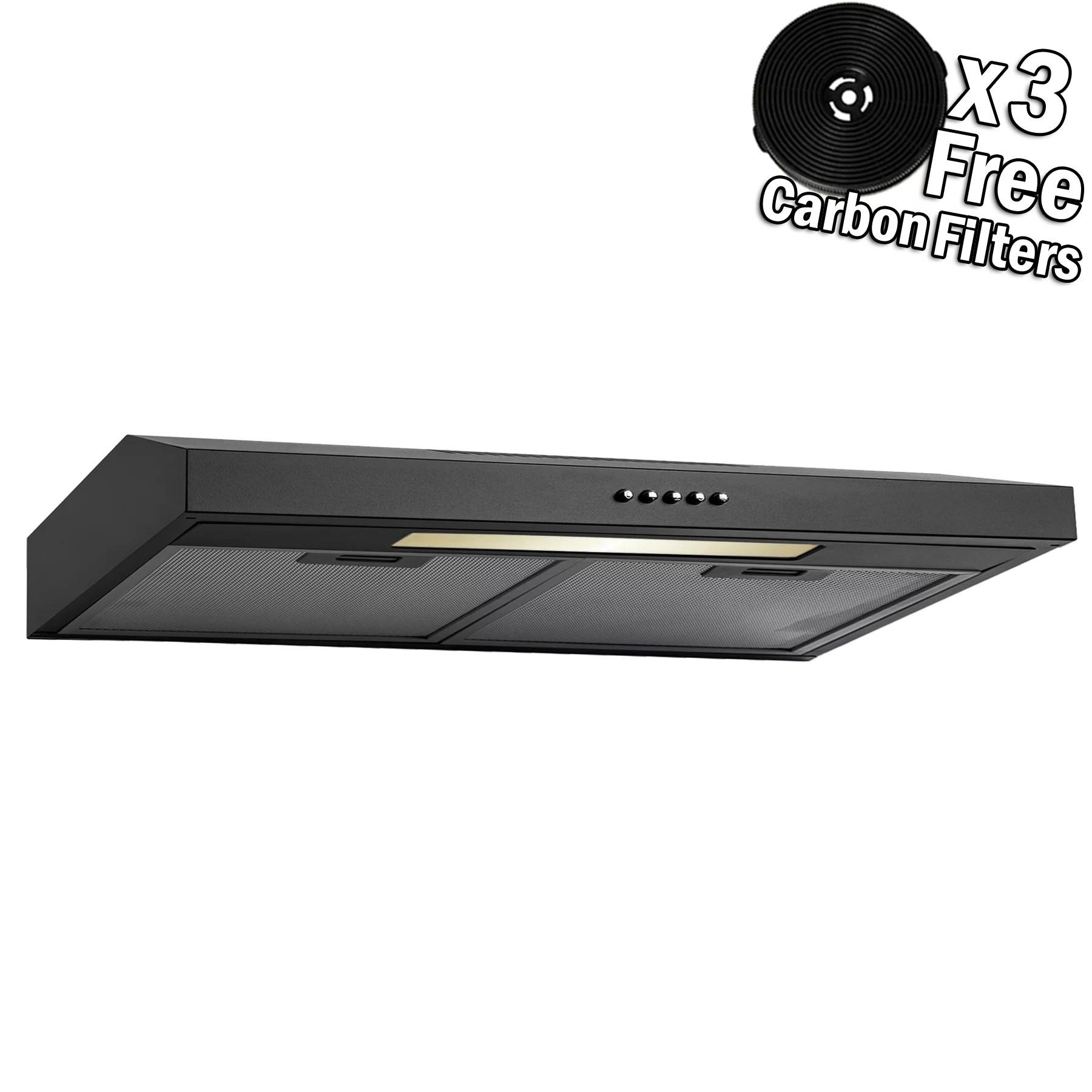akdy rh0334 30 under cabinet black stainless steel range hood