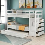 Modernluxe Twin Over Twin Solid Wood Bunk Bed With Trundle Staircase 4 Drawers Walmart Com Walmart Com