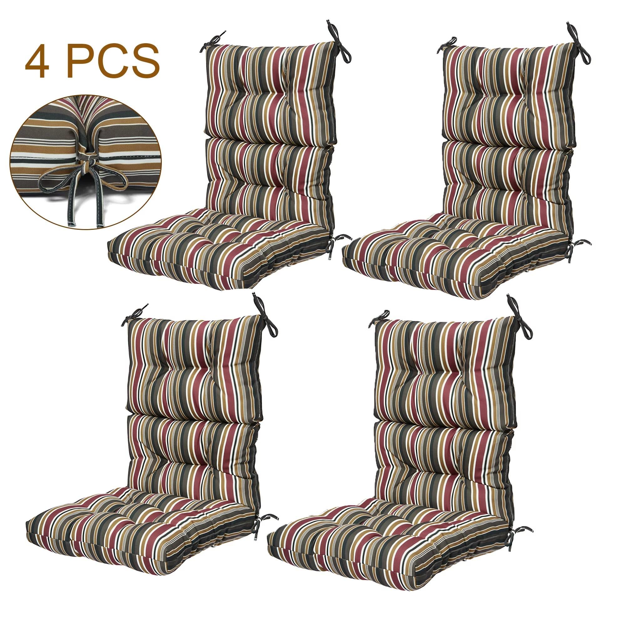 44x21 inch outdoor chair cushion 4pcs high back chair cushions patio garden high rebound foam chair cushion waterproof polyester seat cushions or