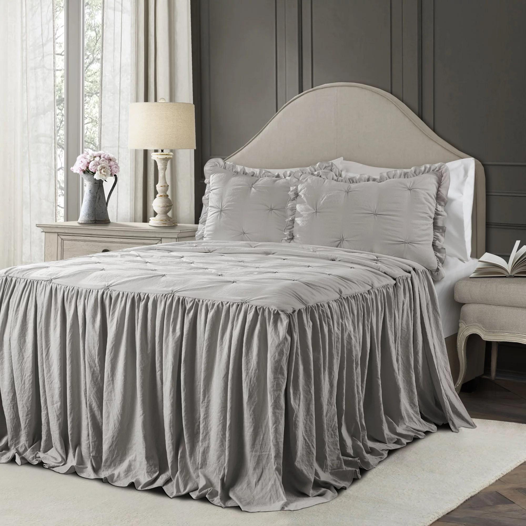 ravello pintuck ruffle skirt bedspread light gray 3pc set queen