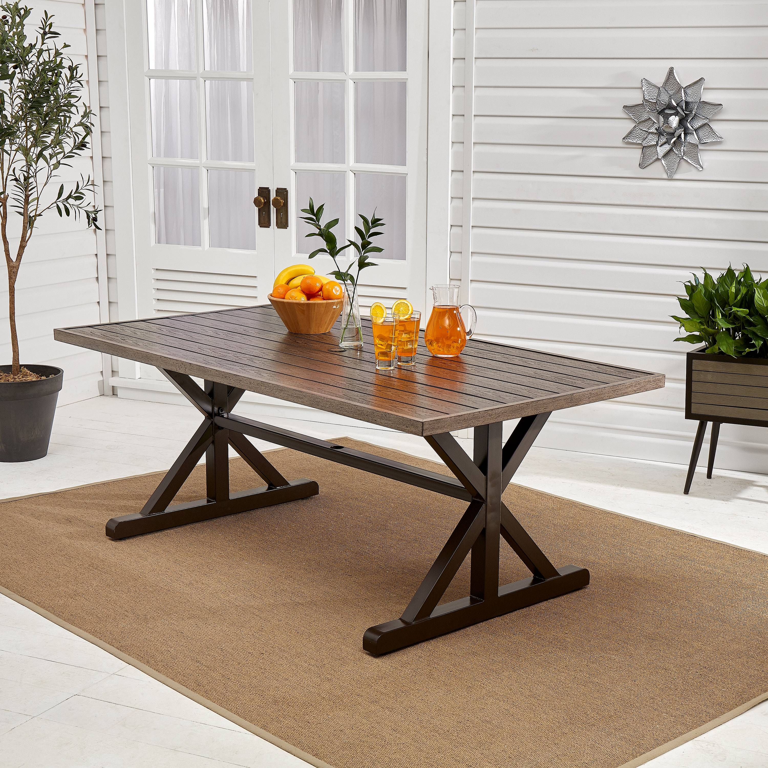 better homes gardens axel farmhouse patio dining table with trestle base