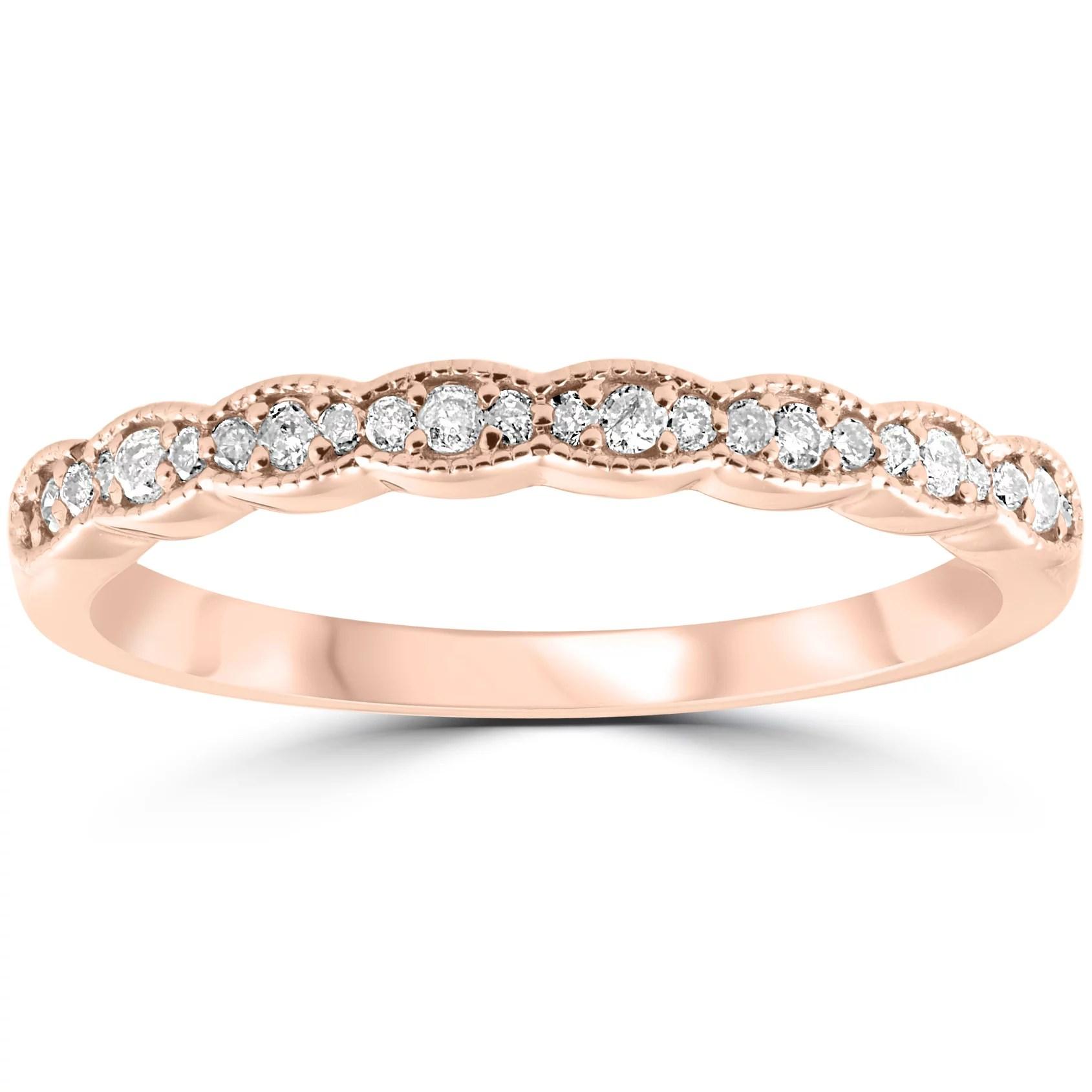 15 Cttw Diamond Stackable Womens Wedding Ring 14k Rose