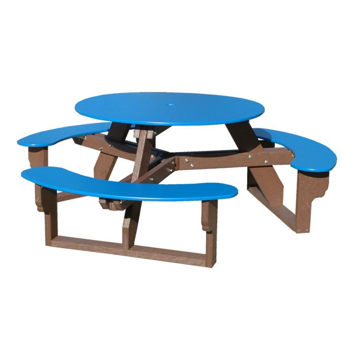 polly products open recycled plastic round picnic table