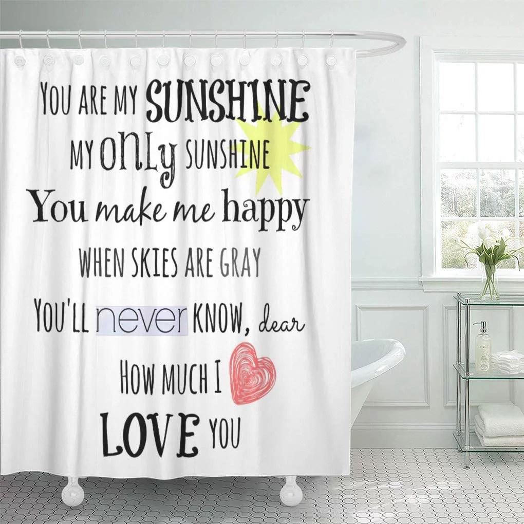 cynlon lyrics you are my sunshine word songs kids love bathroom decor bath shower curtain 66x72 inch walmart com