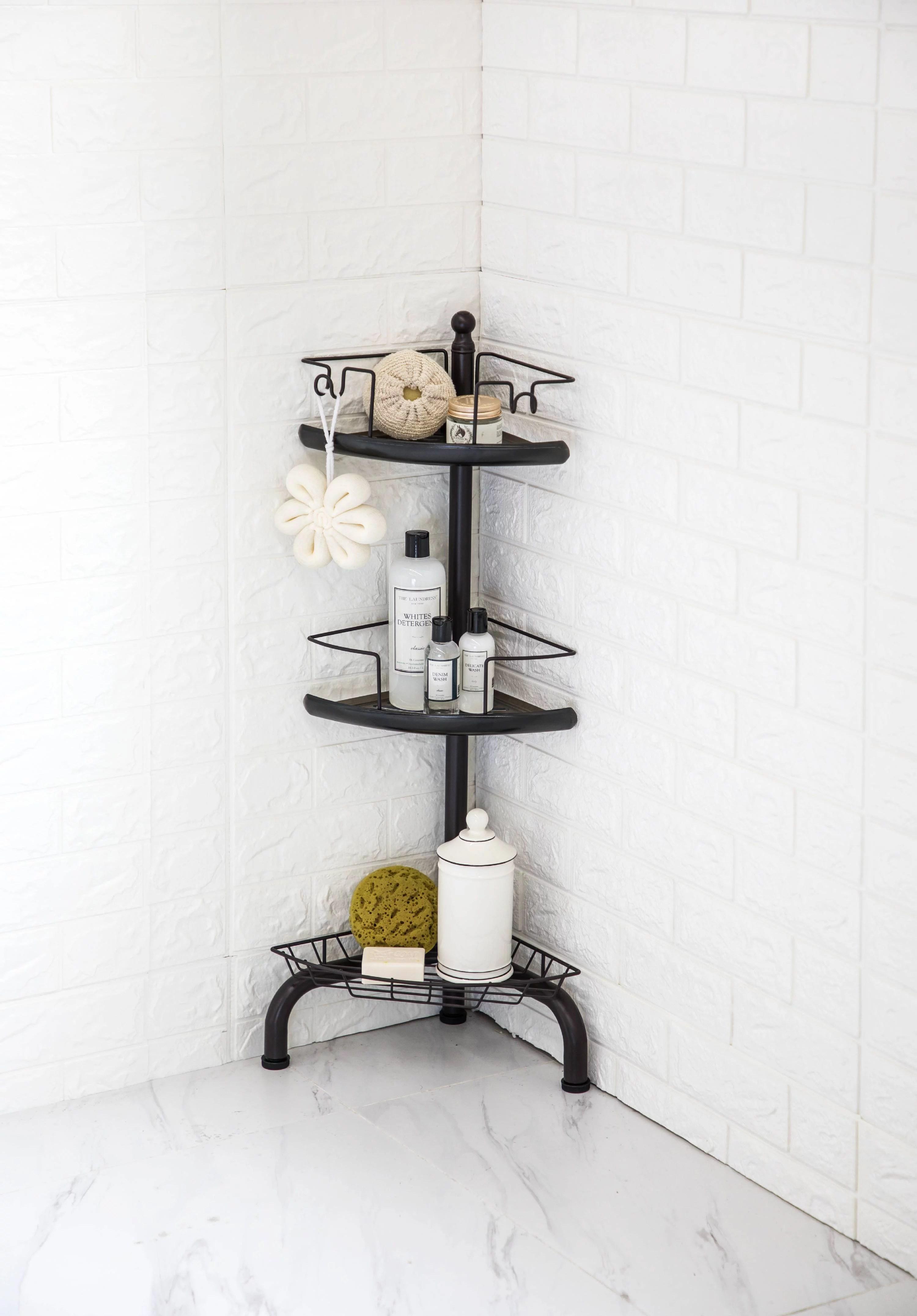 homezone 3 tier corner shower caddy with adjustable shelves oil rubbed bronze