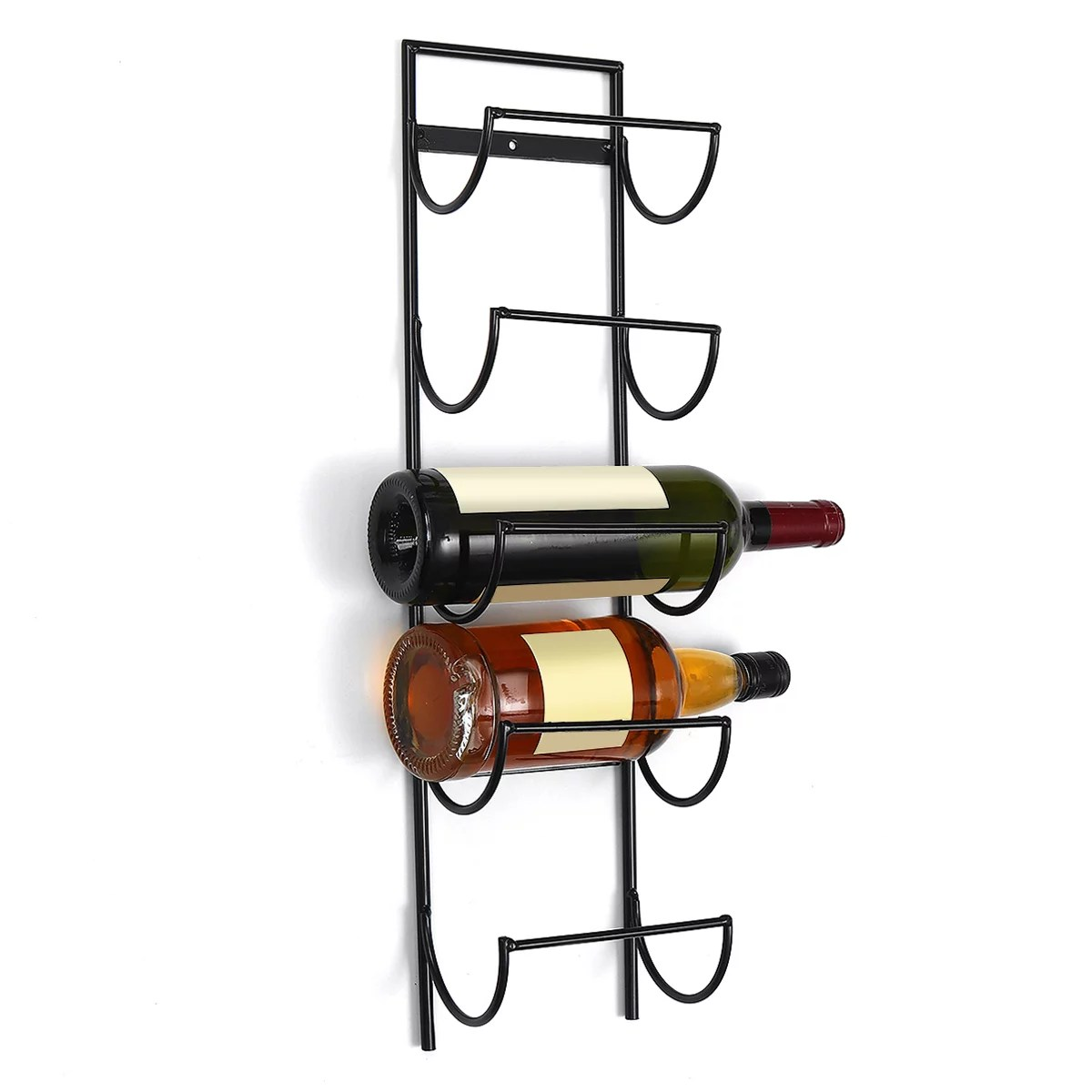 metal wall hanging wine rack wall mounted wine bottle display hold storage organizer home decorative holds 5 bottles