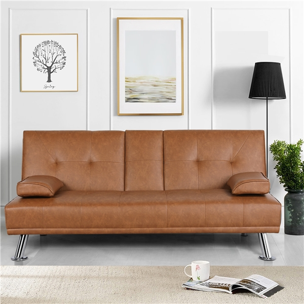 yaheetech modern faux leather futon sofa bed with armrest home recliner couch home furniture
