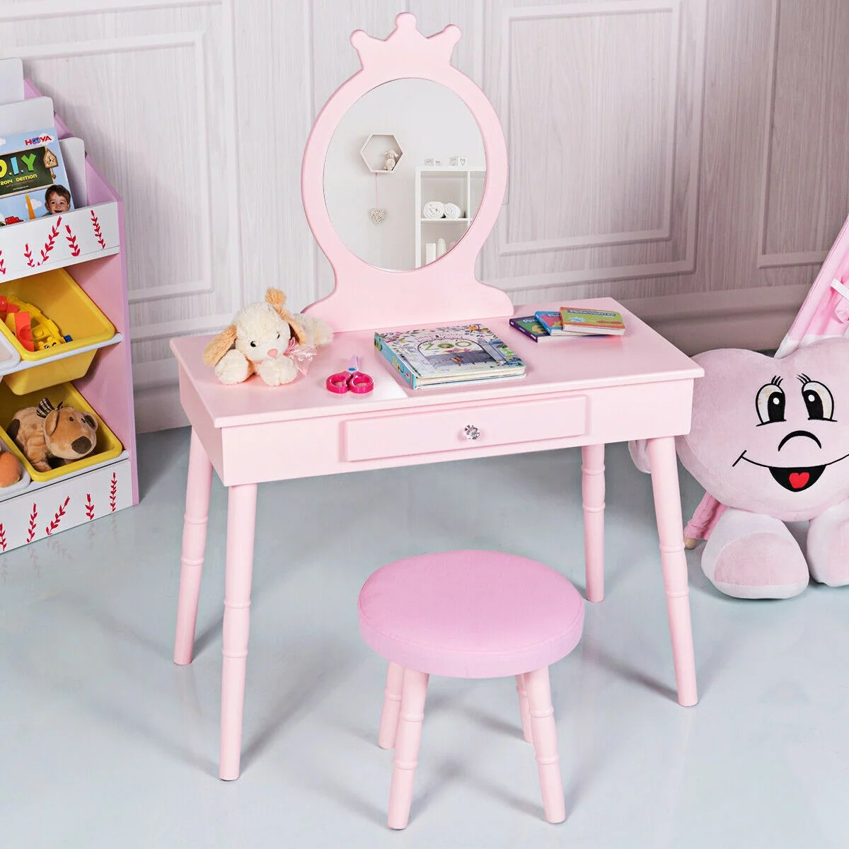 gymax kids vanity makeup table chair set make up stool play set for children pink