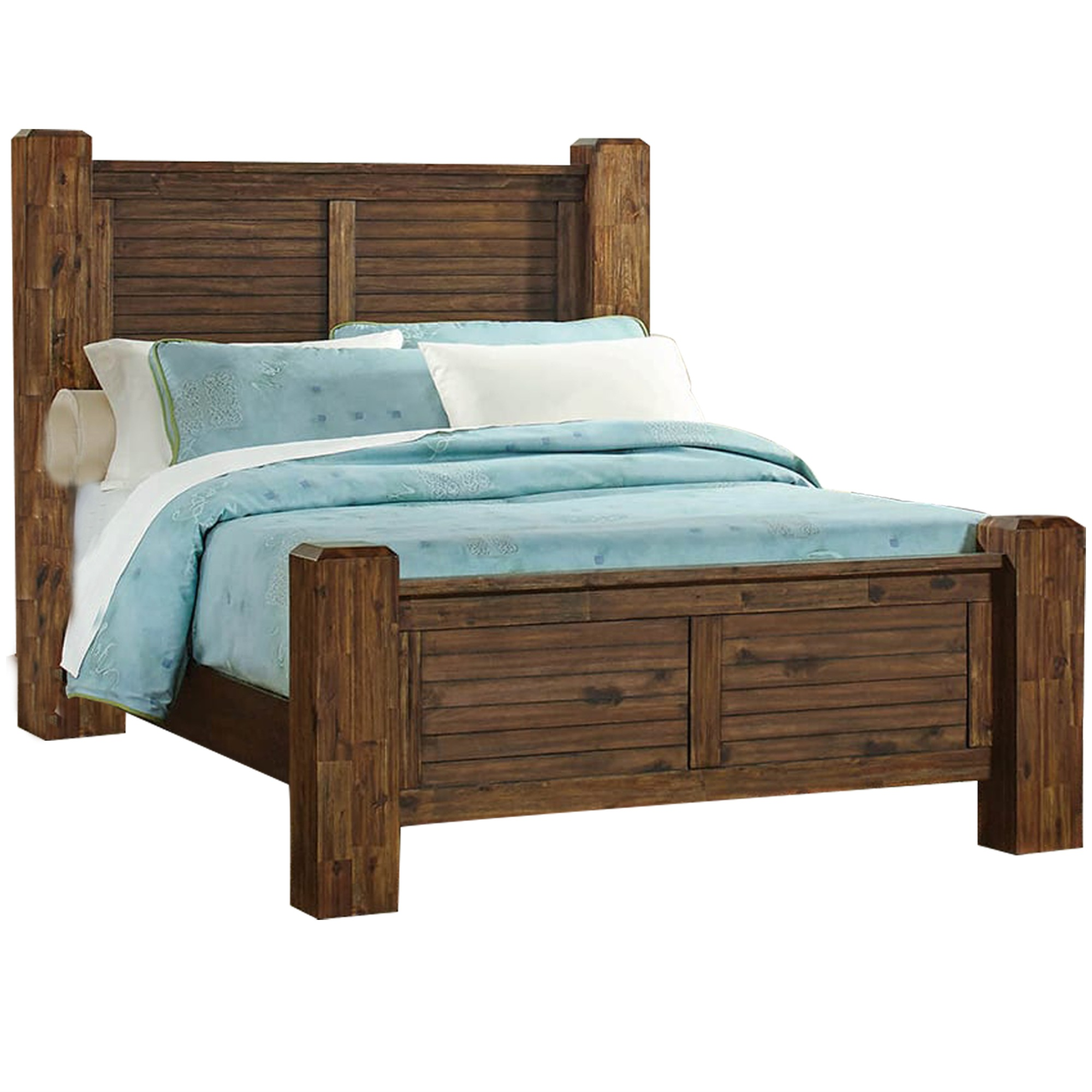 wooden california king size bed with louvered headboard and footboard brown