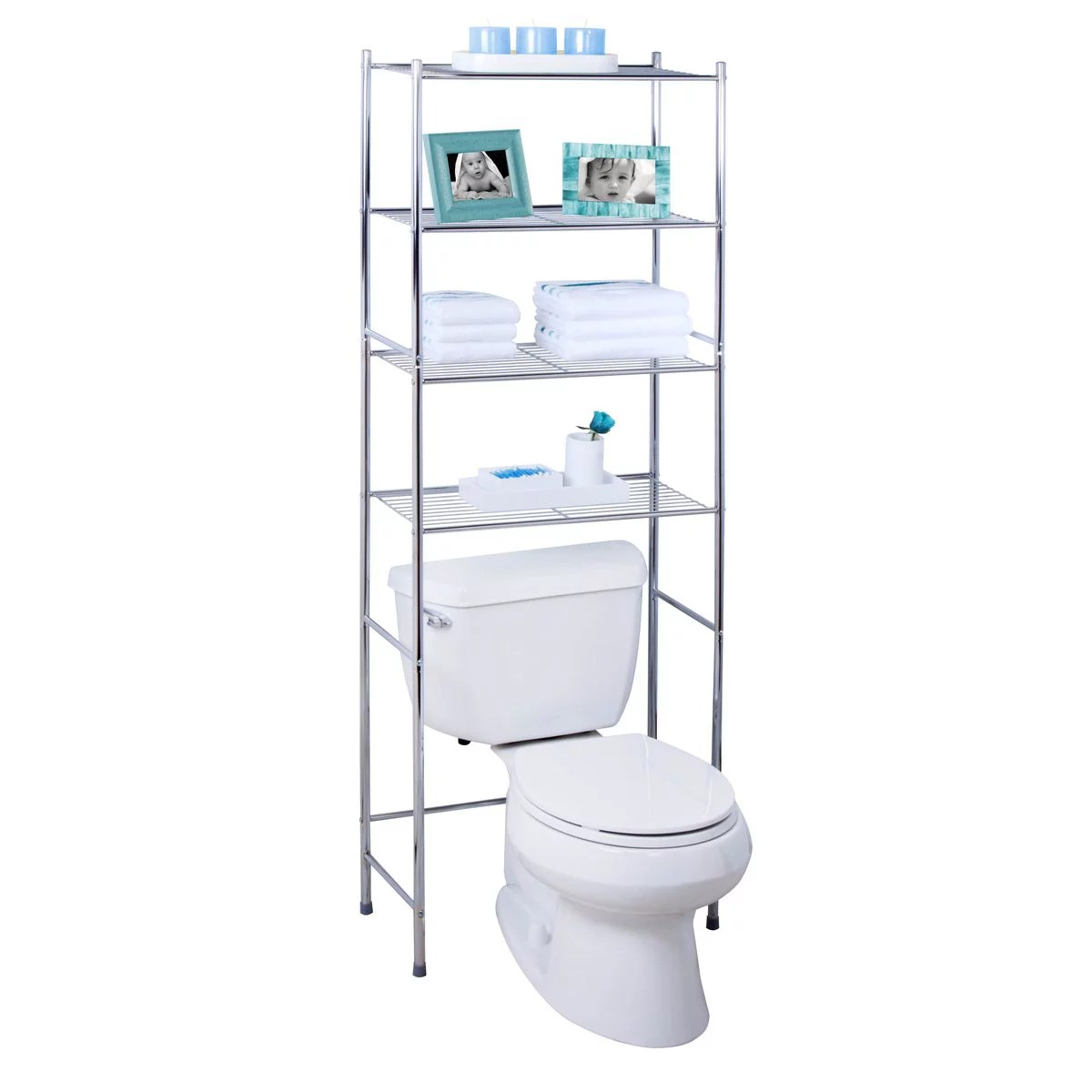 honey can do 4 tier bathroom storage shelving unit chrome