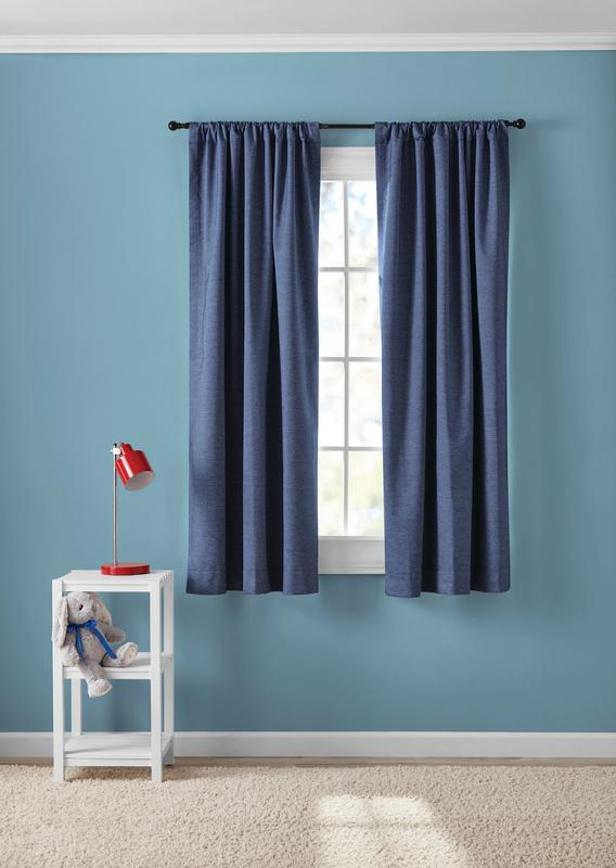 your zone chambray blackout window curtains set of 2 38 x 63 blue