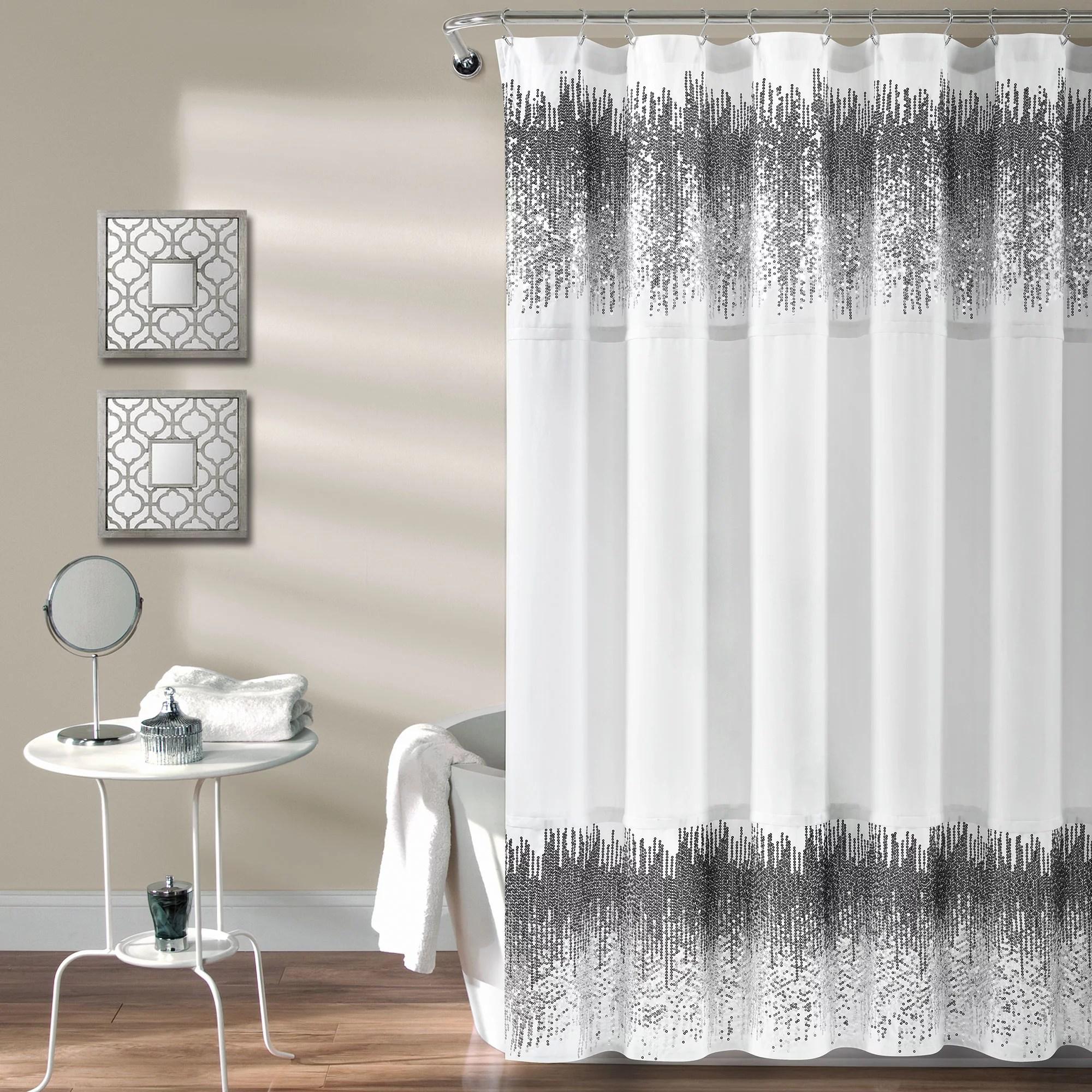 lush decor shimmer sequins shower curtain white black single 70x72