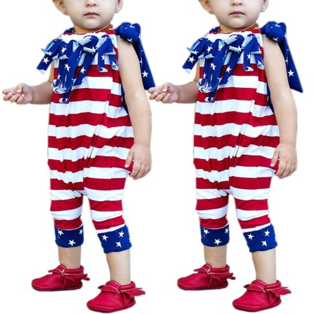 Independence Day Newborn Baby Girls Stripe Clothes America Flag Romper Jumpsuit Playsuit Outfit Sunsuit 0-6 Months