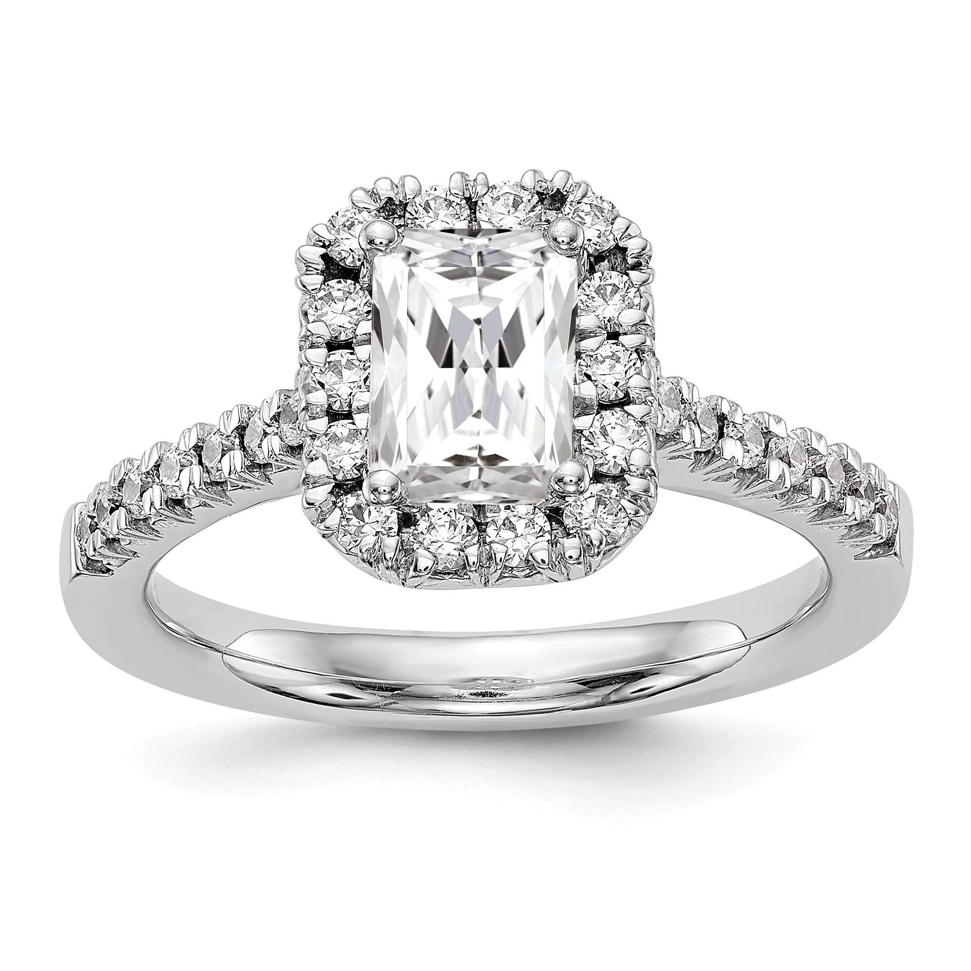 14kt White Gold True Origin Lab Grown Diamond VS/SI, D E F, S/M Emerald Halo Engagement Ring 0.28 Carat, Ring Size 7