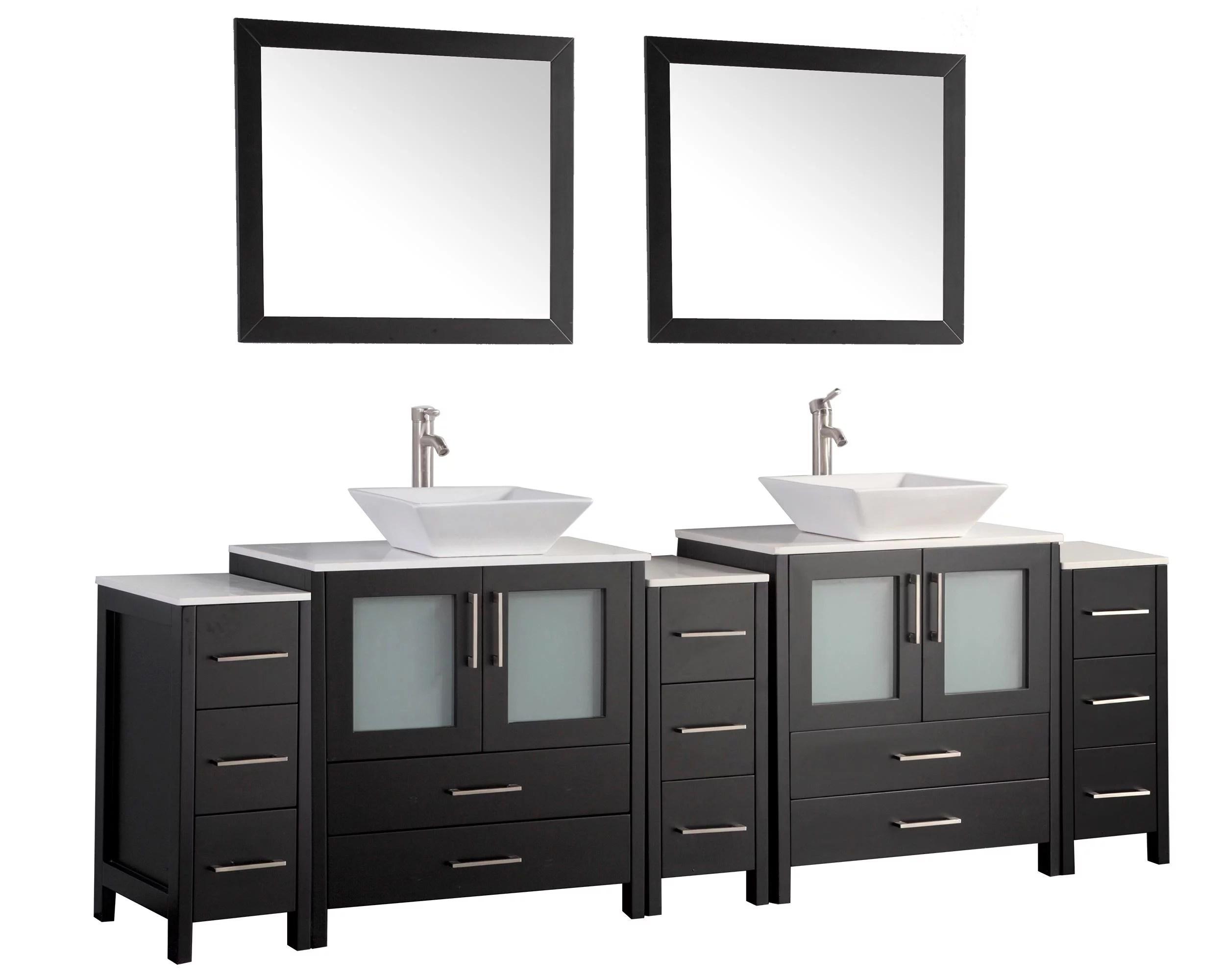 vanity art 96 inch double sink bathroom vanity set with ceramic vanity top walmart com