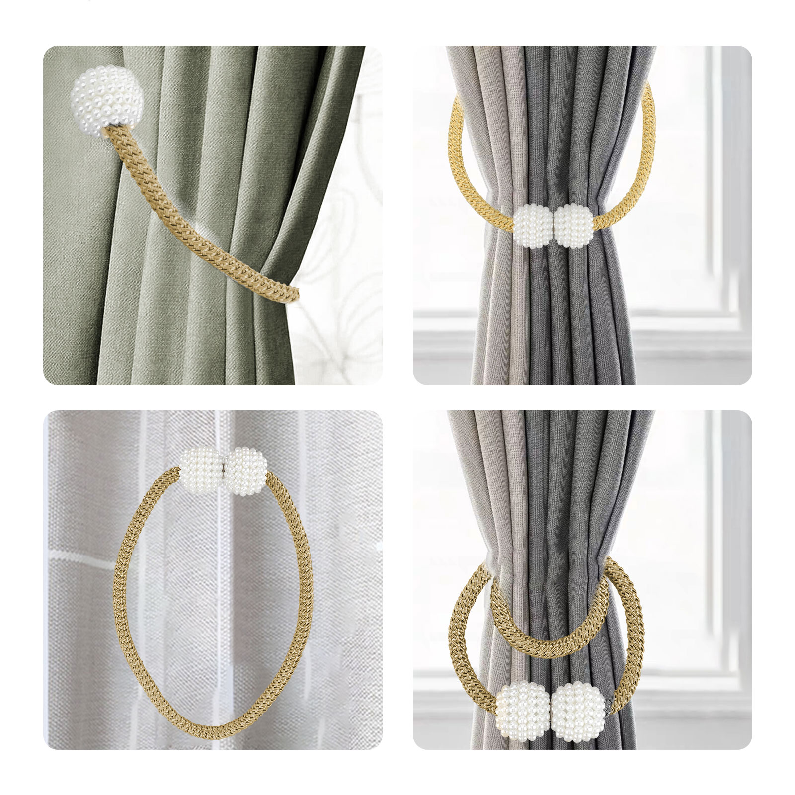 8 6 4 2pcs magnetic curtain tiebacks modern pearl magnetic tie backs woven texture rope holdbacks holder 18 5 inch decorative magnet window hold