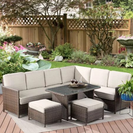 better homes gardens mayers bay 7 piece sectional dining set with tan cushions