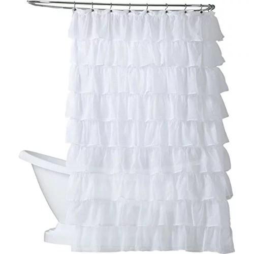 gypsy white ruffled crushed sheer fabric shower curtain 70 w x 72 l