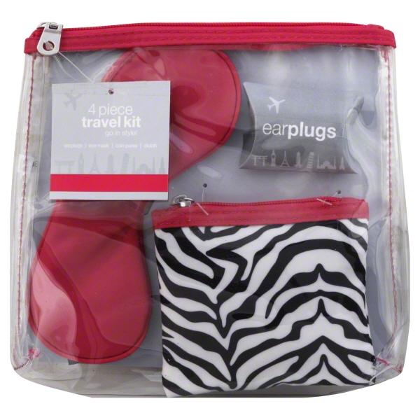 cvs 4 piece travel kit earplugs eye mask versatile coin purse and clear clutch