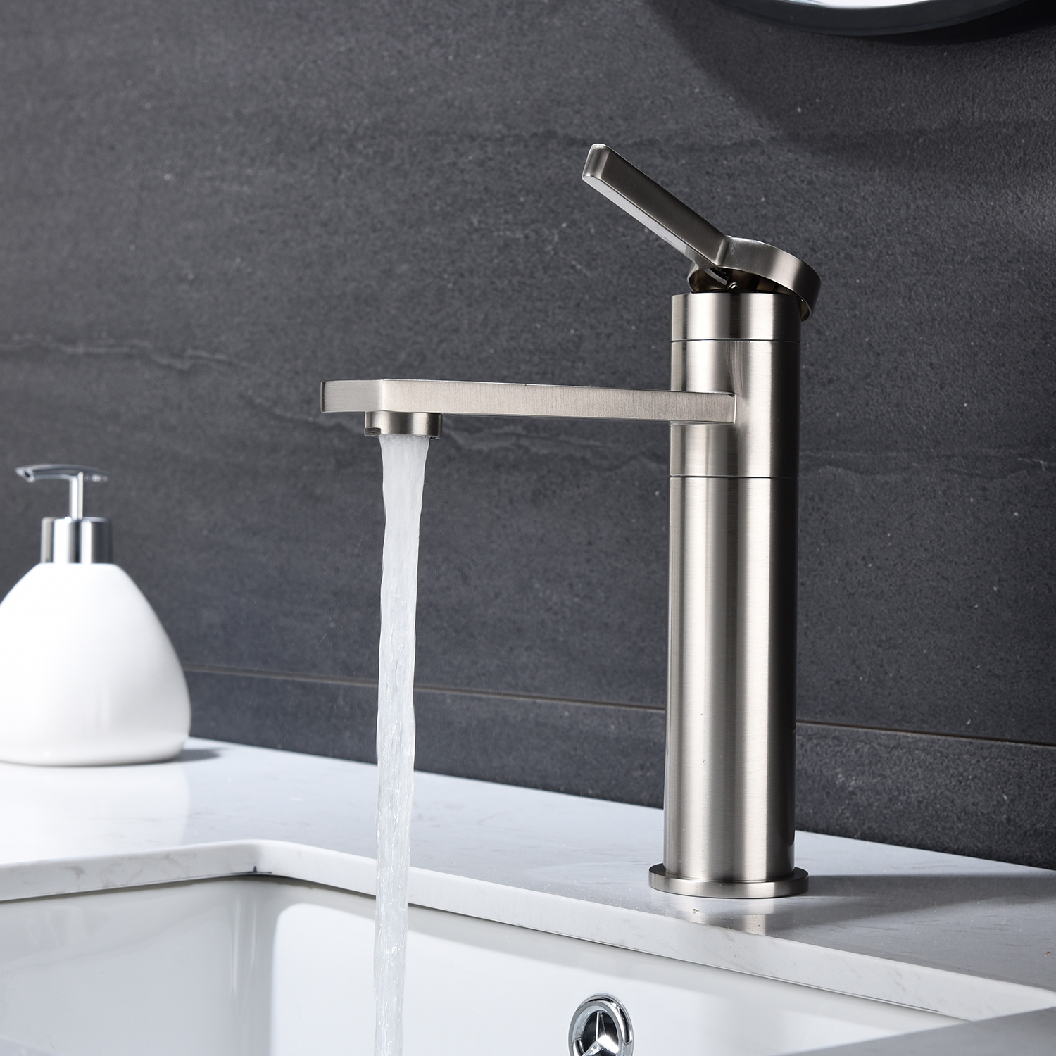 sink faucet brushed nickel single handle bathroom faucet tall bath lavatory vanity faucets with solid stainless steel body