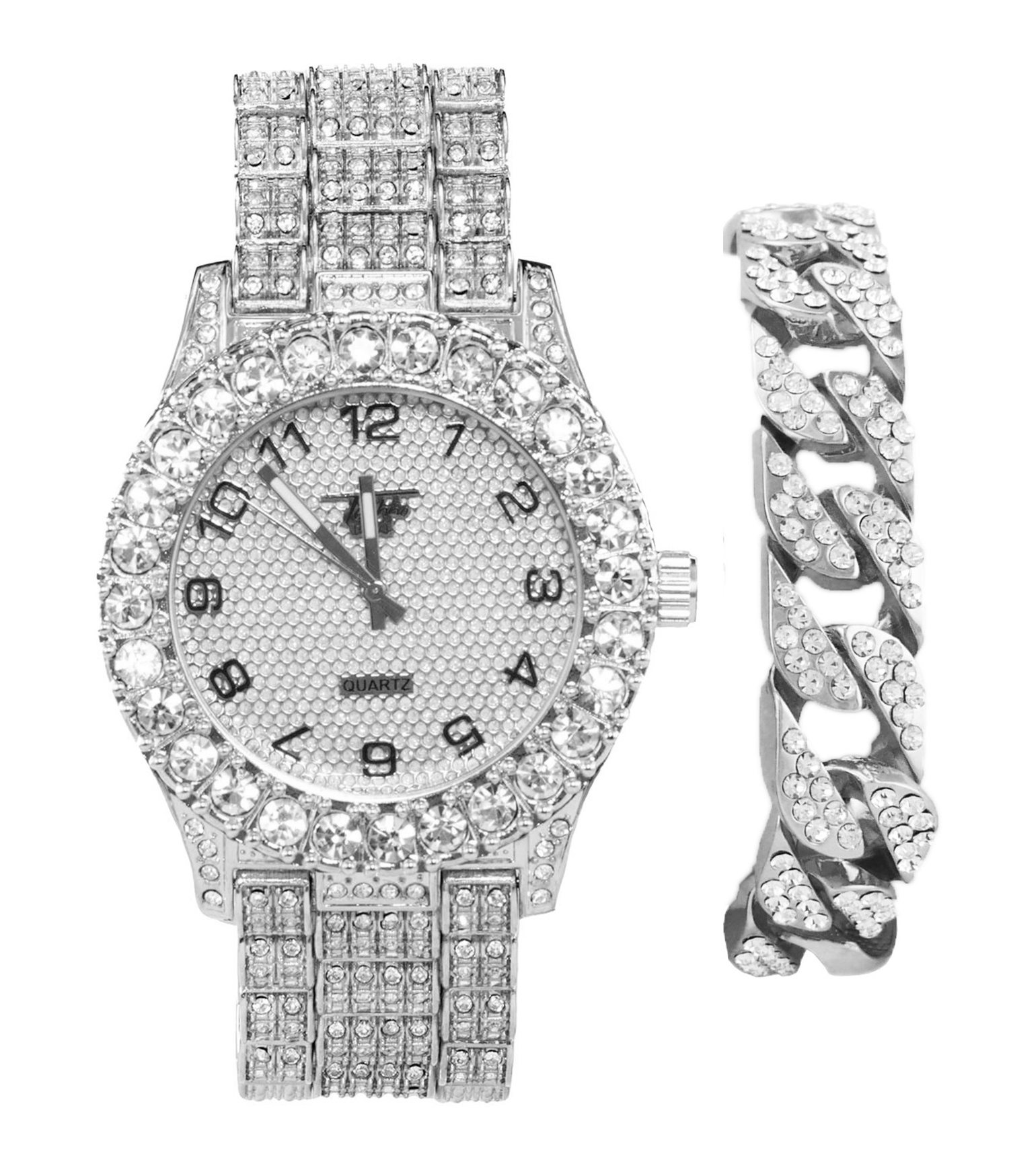 men s techno pave silver iced out watch with bling ed out cuban bracelet 2 piece combo set