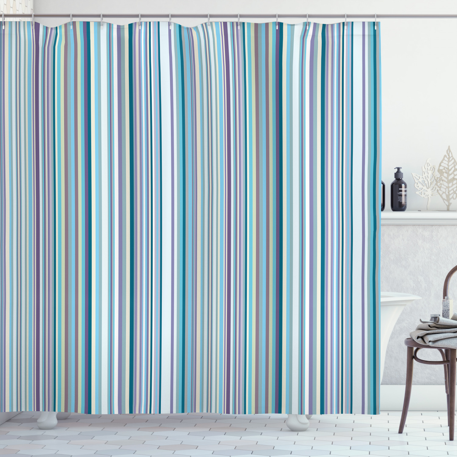 striped shower curtain blue purple teal aqua lavender colored vertical stripes geometric abstract vintage fabric bathroom set with hooks