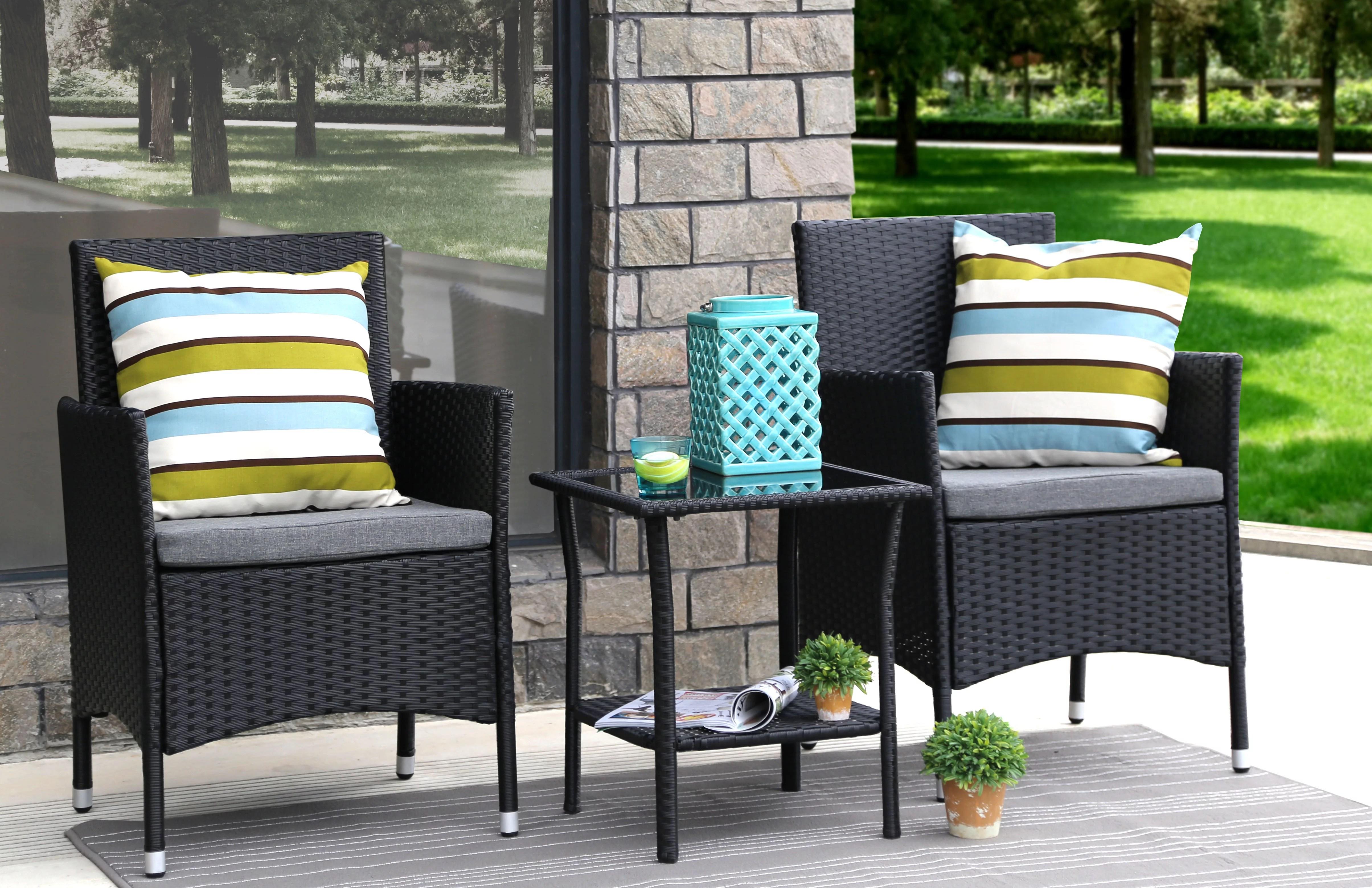 baner garden outdoor furniture complete patio cushion pe wicker rattan garden dining set black 3 pieces