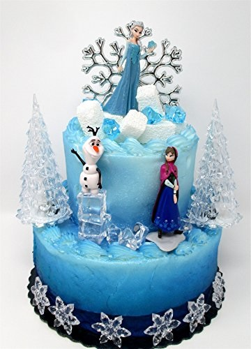 Winter Wonderland Princess Elsa Frozen Birthday Cake Topper Set Featuring Anna Elsa Olaf And Decorative Themed Accessories Walmart Com Walmart Com