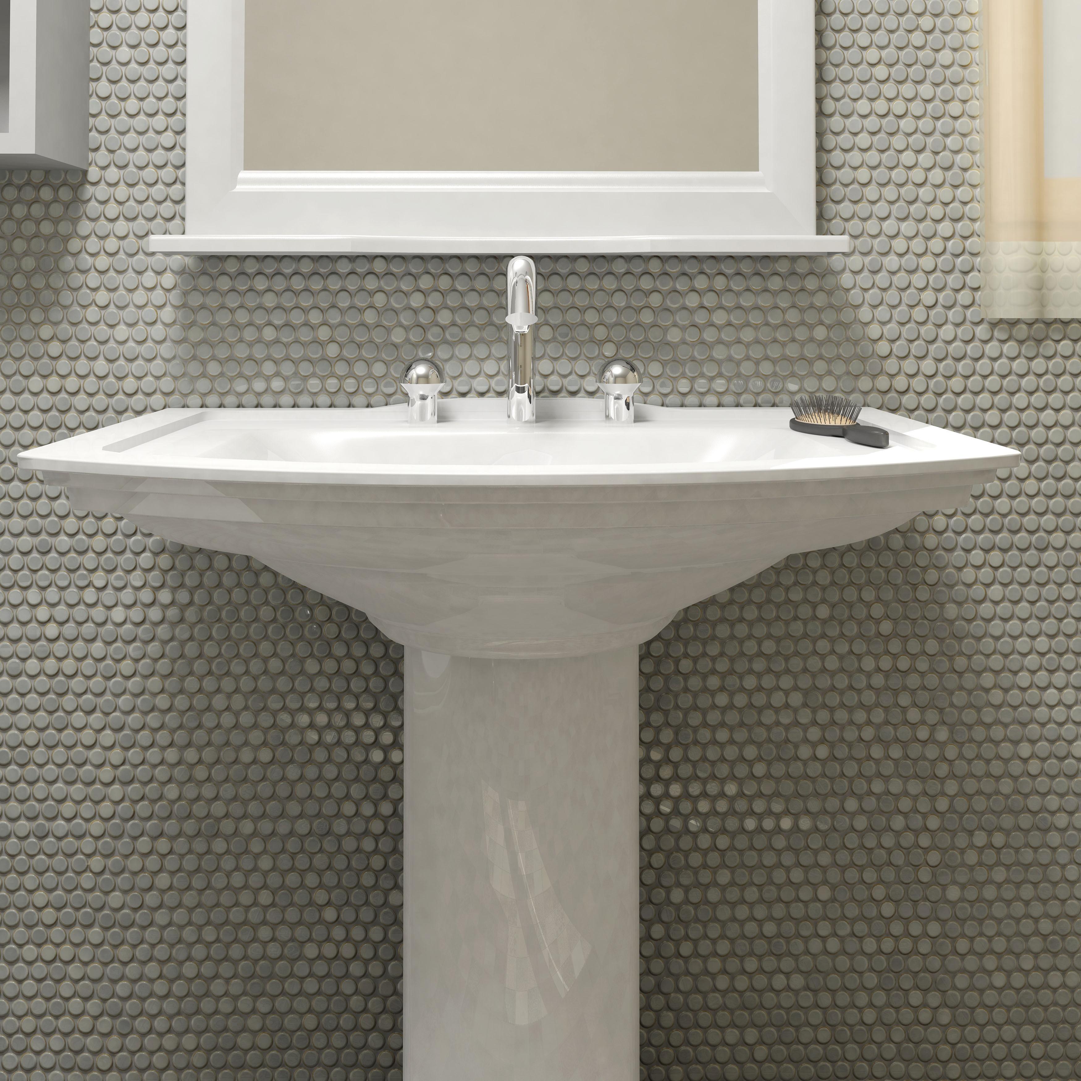 somertile 12x12 625 inch penny grey eye porcelain mosaic floor and wall tile 10 tiles 10 2 sqft