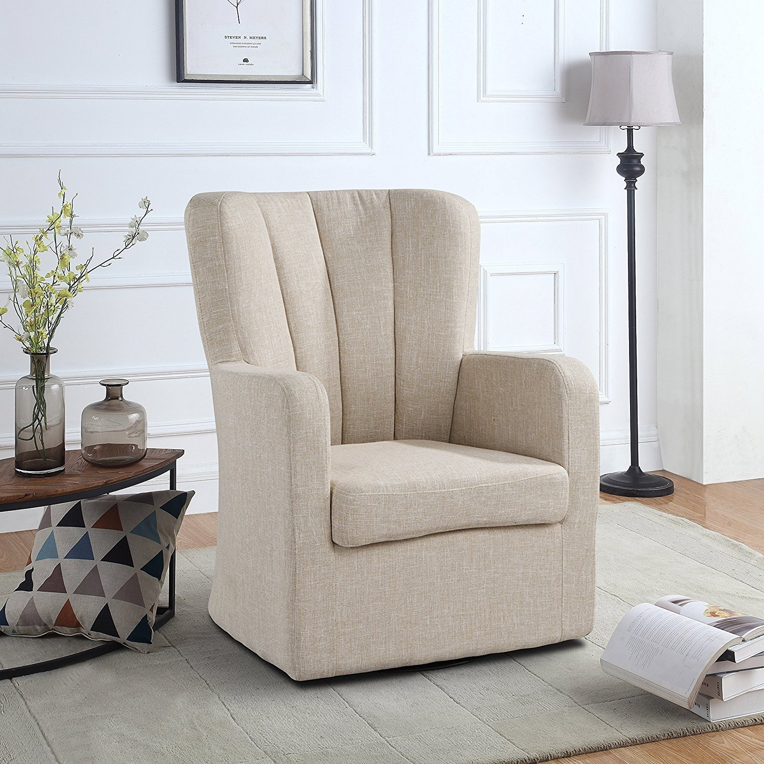 Modern Swivel Armchair Rotating Accent Chair For Living Room With Pleated Back Beige Walmart Com Walmart Com