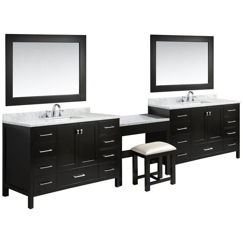 design element london 138 double sink bathroom vanity set in espresso with matching marble make up table set walmart com