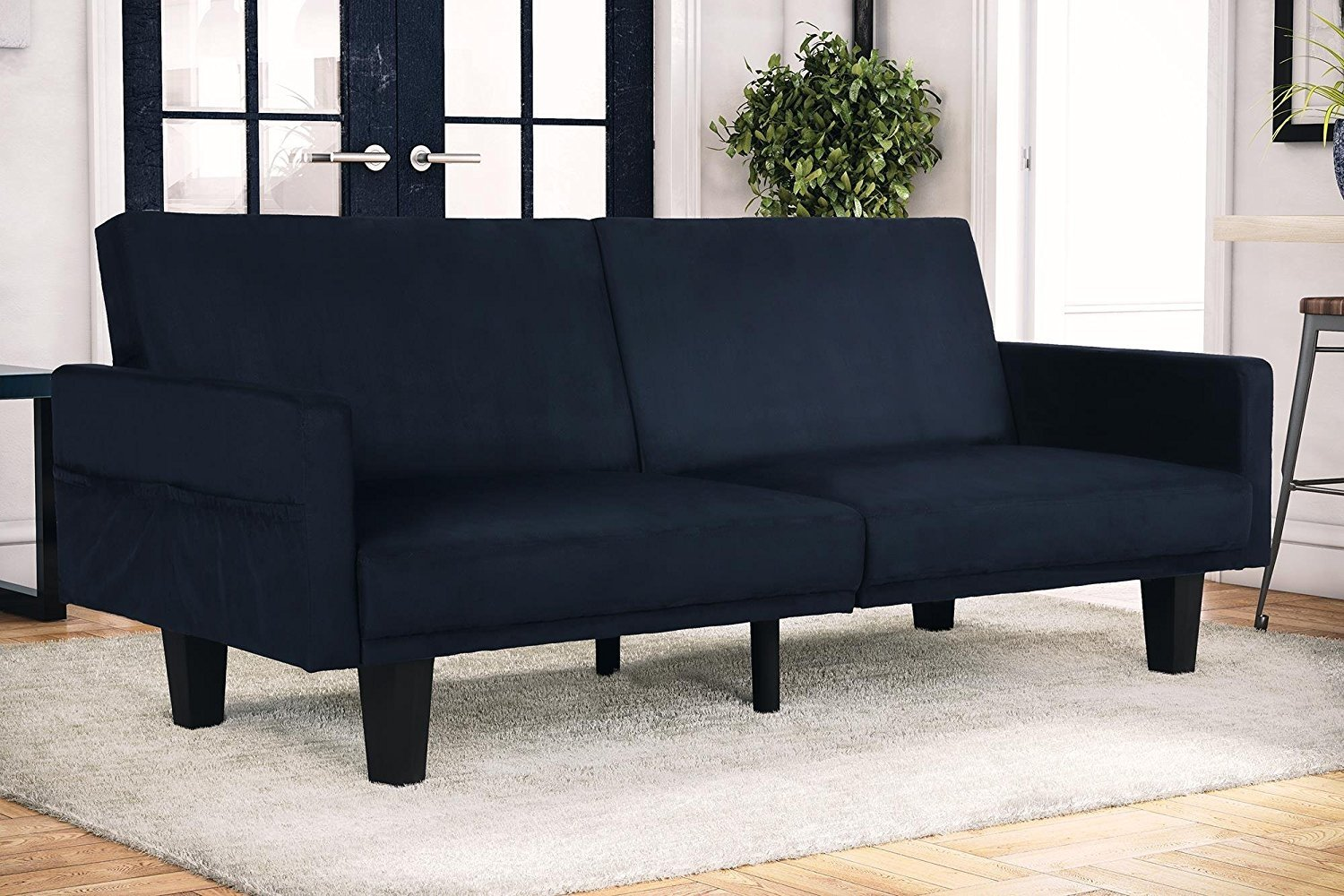 dhp metro modern splitback futon couch with storage pockets microfiber upholstery multifunctional blue