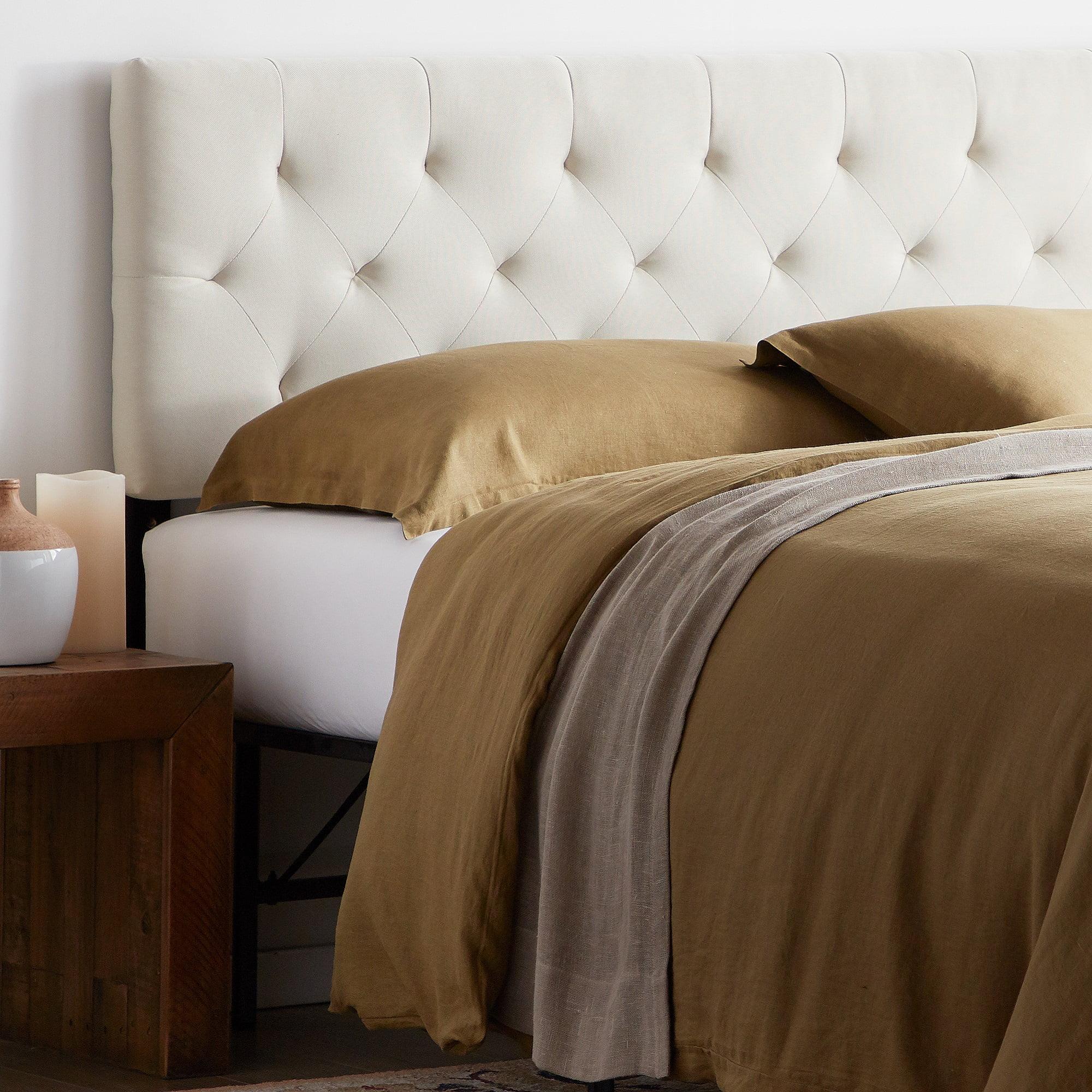 rest haven upholstered diamond tufted mid rise headboard full cream