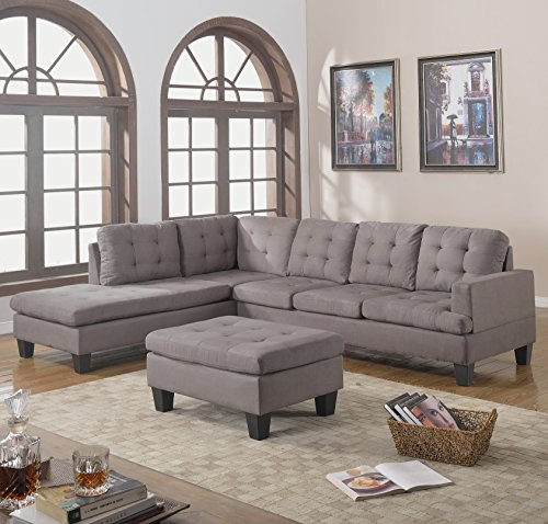 divano roma furniture 3 piece reversible chaise sectional sofa with ottoman grey charcoal