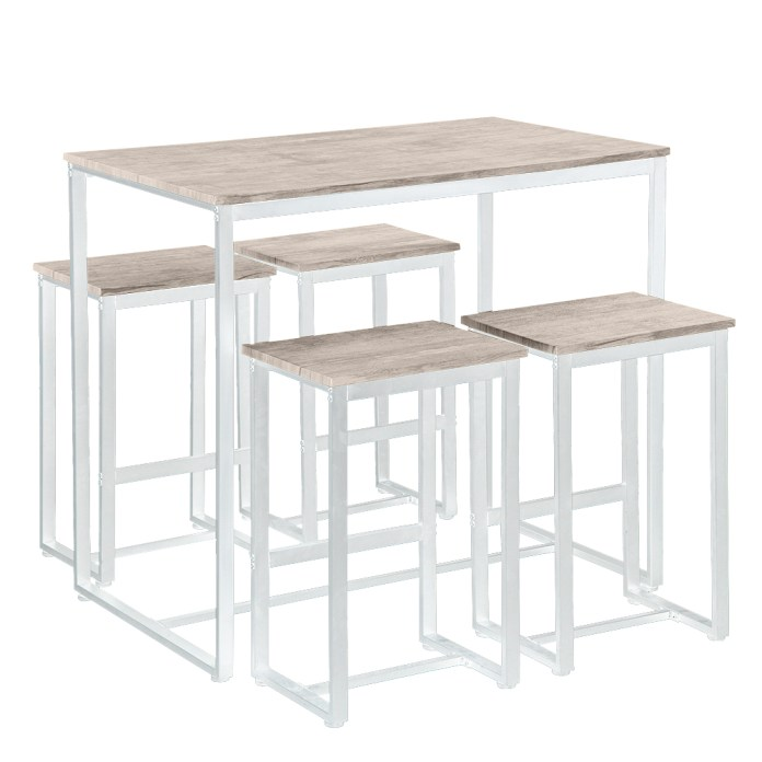 5 Piece Counter Height Table Set Btmway Modern Metal High Bar Table And Chairs Set Dining Room Table With Chairs Set For 4 Bistro Pub Restaurant Home Kitchen Dining Table With 4 Barstools Oak R626 Walmart Com Walmart Com