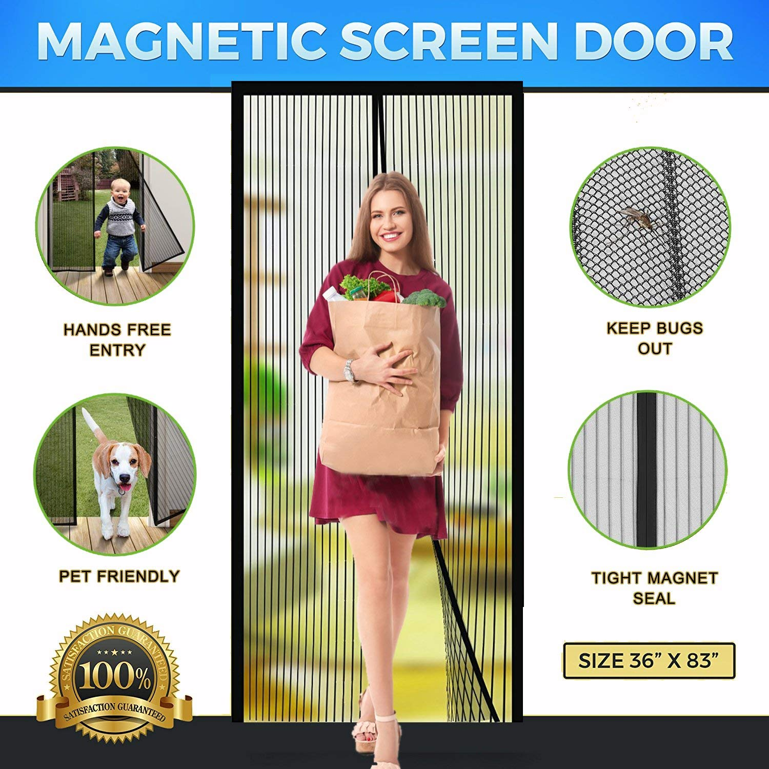 magnetic screen door mesh with heavy duty mesh curtain and full frame hook loop magic mesh instant screen door for front door and home outside fits