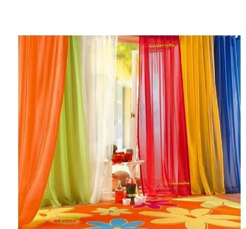 120 inch extra long voile 54 wide window sheer curtain panel bright orange