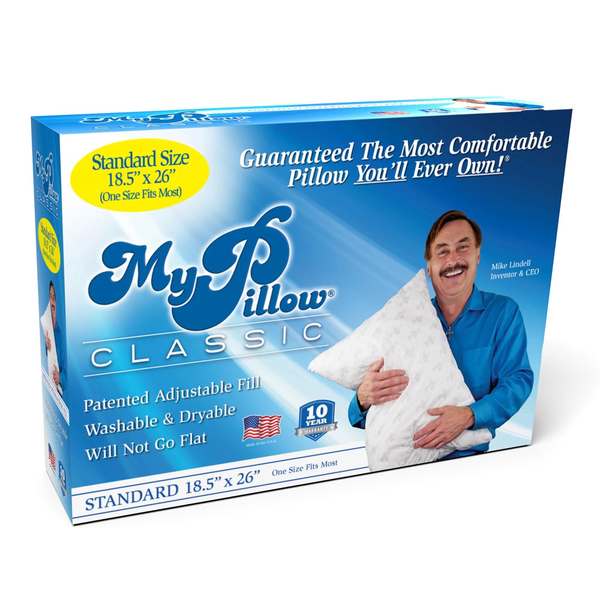 mypillow classic standard size and medium support 1 pillow walmart com